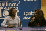 BG0684 Venus, left, and Serena Williams, right, have a lot of fun during a question and answer...