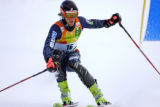 U.S. skier Steven Nyman (#16) looks to set up his next turn during the Slalom run of the Visa...