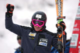 U.S. skier Ted Ligety acknowledges the cheers of the crowd after the Slalom run of the Visa Birds...