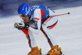 French skier Johan Clarey (#45) speeds towards the finish line during the Visa Birds of Prey Men's...