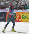 Steve Nyman cheers his timeafter he  crosses the finish line at the bottom of the downhill at the...