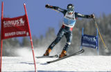 Ted Ligety from USA tries flies through gates during his second run of the Men's Giant Slalom race...