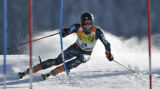 Jimmy Cochran from USA skis his first run of the Men's  Slalom race at the Birds of Prey World Cup...