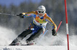 Andre Myhrer from Sweden skis his second run of the Men's  Slalom race at the Birds of Prey World...