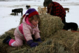 Britney Iacovetto, 2 years old, left, helps her grandfather Wayne Iacovetto (cq), right, feed...