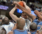 Denver Nuggets forward Linas Kleiza pulls down one of his six rebounds to add to his ten total...