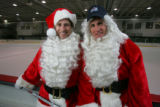 Santa Disguise.   Colorado Avalanche players John-Michael Liles and Ian Laperriere, along with...