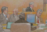 JOE661 Detail of an artist's rendering of the direct examination of former Qwest investor...