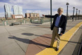 Jon Esty, a transit proponent and president of the Colorado Rail Passenger Association points to...