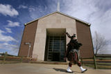 After a memorial for three soldier killed in Iraq bagpiper Robert Kirkham with the Pikes Peak...