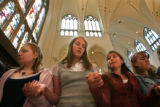 MJM190 St. Mary's School's Veronica Whealdon, left to right, Merlow Dunham, Kellie Biasio, and...