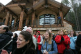 A crowd of sponsors for the HGTV Dream Home in Winter Park, Colorado cheer as Robert and Lorie...