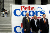 (Denver, Colo., August 20, 2004) Senate Candidate Pete Coors gather with U.S. Sens. Ben Nighthorse...