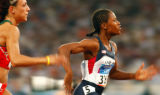 (Athens, Greece  on Friday, Aug. 20, 2004) - American sprinter Lauryn Williams, left, leads...