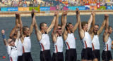 (ATHENS, GREECE-AUGUST 22, 2004)  United States' men's row eight team celebrate they're gold medal...