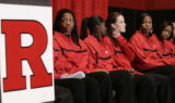 NJMD110 - Members of the Rutgers  women's basketball team are shown during  a news conference held...