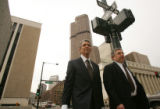 Defense attorneys for former Qwest CEO Joseph Nacchio, Herbert Stern, left, and Jeffrey Speiser,...