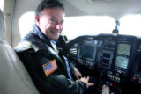 Rick Adam (cq) founder of Adam Aircraft, sits inside of Adam Aircraft's  A-500 aircraft at...