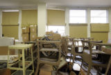 Chairs and desks fill part of a classroom at Manual High School, which is scheduled to re-open...