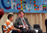 (DENVER, Colo., May 18, 2004) Denver Mayor John Hickenlooper elbows Cheltenham Elementary student...