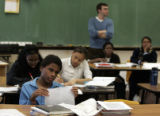 Smiley Middle School 8th grader Devionta Martin (cq), 14, looks confused as he listens to his...