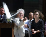 L to R: Rosa Bunn (cq), of White Birds Unlimited, and Lisa Parks (cq) release a white dove during...