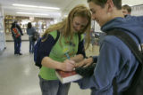 at North Park High School, Walden, Colo. on Tuesday, April 10, 2007.  Joy Nameth, 18 is a senior...
