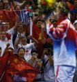 (Athens, Greece  on Sunday, Aug. 22, 2004) - Supporters of China's Yining Zhang cheer her...