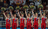 (Athens, Greece  on Monday, Aug. 15, 2004) - Team USA's Men's gymnastics team Guard Young, Blaine...