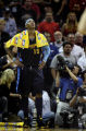 Denver Nuggets' Carmelo Anthony looks up at the score boards as game 5 ends against the San...