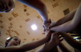 (DENVER, CO., AUGUST 25, 2004) North High School students trying out for the schools volleyball...