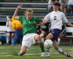 Christina Whitelaw, #3, of St. Mary's and  Melissa Nemaiec, #2, of Basalt both try to get control...