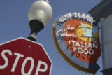 The exterior sign of the Blue Parrot Italian Restaurant at 640 Main St. in Louisville, Colo. on...