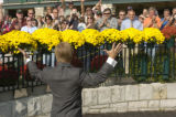 Hall of Fame jockey, Pat Day waves to the crowd during ceremonies honoring  him at Keeneland Race...