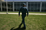 Air Force Academy cadet Erik Mirandette makes his way up the west steps of the Air Force Academy...