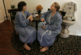 Alisha Secrest (cq), right, checks out the Bella Fiore Day Spa in Cherry Creek, May 9, 2007, with...