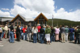 A large crowd showed up at hear what was going on at a press conference at the Breckenridge Police...