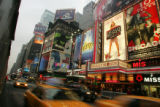 "A giant marquee of ""Legally Blonde"" is seen among other shows' marquees alongside..."