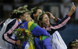 (Athens, Greece  on Tuesday, Aug. 23, 2004) -  American beach volleyball bronze medalist Elaine...