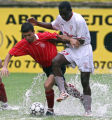 XBG102 - Ndinga Rok Itua, right from Pobeda, fights for the ball with Bilal Velij, left from...