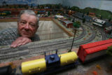 Jerry Brooks, (cq), 82,  is with his immense train operation in the basement of his home at 1160...