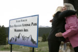Congresswoman Marilyn Musgrave, left, gets a hug from Grand Lake Mayor Judy Burke (cq) after...