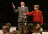 (DENVER, CO, 9/8/04) Mayor Hickenlooper received a conducting lesson from Colorado Symphony music...