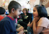 Kindergarten teacher Margeauxx Sandt (cq) uses fun and expressive teaching methods during an oral...