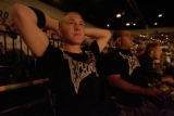 Tyler Carron soaks in the environment of a Ultimate Fighting Championship as he sits with friend...
