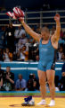 (ATHENS, GREECE-AUGUST 25, 2004) United States' wrestler, Rulon Gardner, of Afton, Wyo., waves...