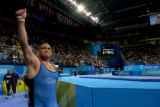 (ATHENS, GREECE-AUGUST 25, 2004) United States' wrestler, Rulon Gardner, of Afton, Wyo., gives a...