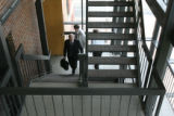 U.S. Senator Ken Salazar takes the stairs up to a press conference at his local offices in Denver,...