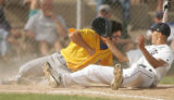 (sequence 2) Wheat Ridge's Donnie Bauer draws his arm back to punch Columbine pitcher Kyler Brady,...