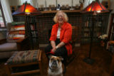 Connie Willis, (cq) with Smudge, (from owner) her one year old bulldog best buddy, in her home at...